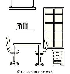 praca miejsce, scena, biurowe ikony