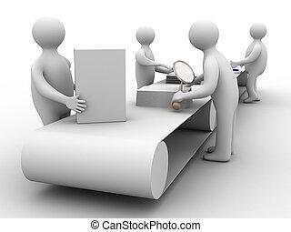 praca, na, przedimek określony przed rzeczownikami, conveyor., 3d, image., odizolowany, ilustracje