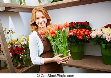 praca, od, kwiaciarka