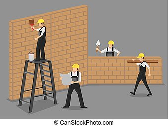 praca, pracownicy, wektor, zbudowanie, ilustracja