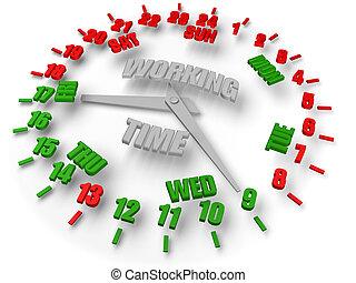 praca, pracujący, godzinki, days., 5, czas, tydzień, clock., 8