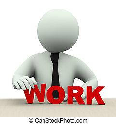praca, słowo, 3d, człowiek, handlowy