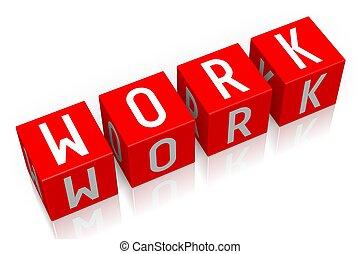 praca, -, sześcian, słowo, 3d