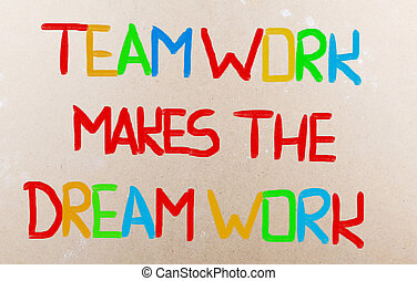 praca, teamwork, pojęcie, sen, marki