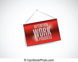 praca, uwaga, postęp, wisząc