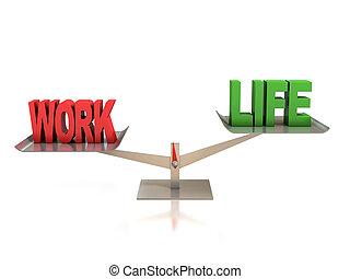 praca, waga, życie, pojęcie, 3d
