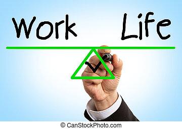 praca, waga, życie, pojęcie, closeup