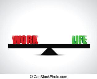 praca, waga, życie, pojęcie, ilustracja