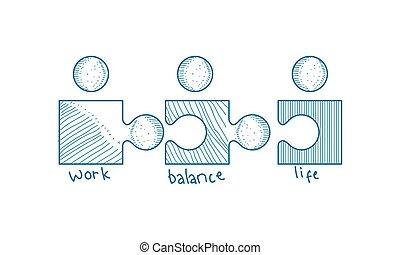 praca, waga, życie, wektor, szablon
