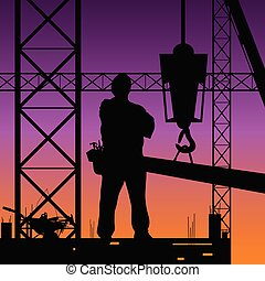 praca, zbudowanie, wektor, ilustracja, człowiek