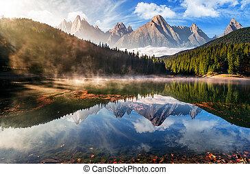 prachtig, berg meer, in, herfst, mist