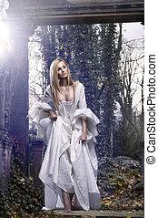 prachtig, blonde, beauty, in, een, ouderwets, jurkje, in,...