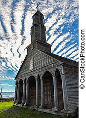 prachtig, gekleurde, en, houten, kerken, chiloé, eiland,...