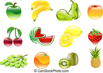prachtig, glanzend, fruit, pictogram, set