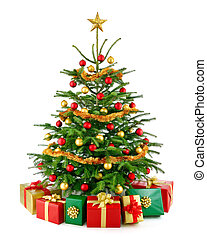 prachtig, kerstboom, met, giftdozen