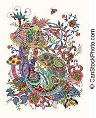 prachtig, kleuren, volwassene, pagina