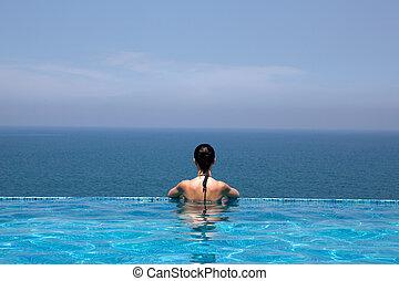 prachtig, zwembad, in, een, hotel, vakantiepark, in, kerala,...