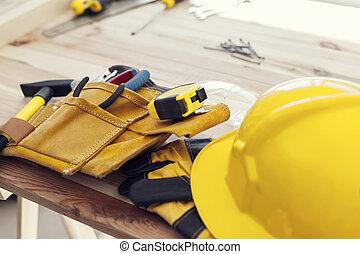 pracoviště, o, profesionál, stavbař