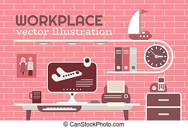 pracoviště, vektor, ilustrace