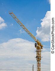 pracownicy, żuraw zbudowania, umiejscawiać