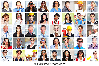 pracownicy, collage., ludzie handlowe, twarze