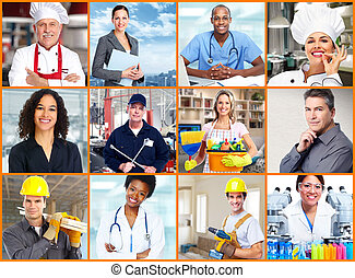 pracownicy, collage., ludzie