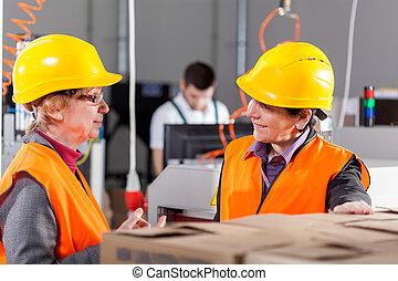 pracownicy, dyskutując, na, produkcja, powierzchnia