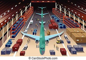 pracownicy, fabryka, samolot