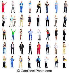 pracownicy, grupa, set., ludzie