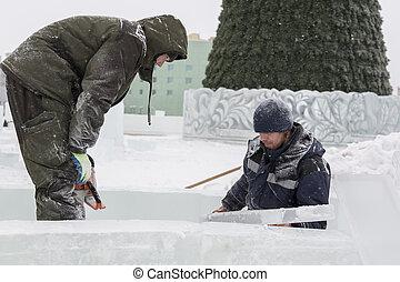pracownicy, miejsce obozowe, lód, dwa
