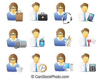 pracownicy, narzędzia, biurowe ikony