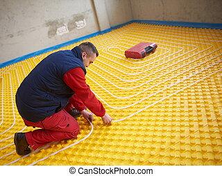 pracownicy, ogrzewanie, underfloor, system, instalowanie
