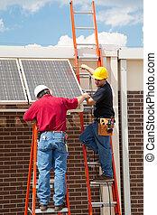 pracownicy, poduszeczki, instalować, słoneczny