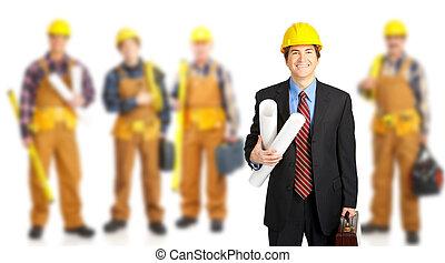 pracownicy, przemysłowy, group.