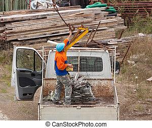 pracownicy, ruchomy, żuraw, steel.
