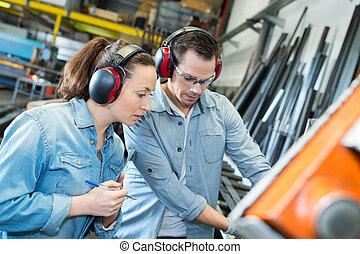 pracownicy, samiec, fabryka, samica