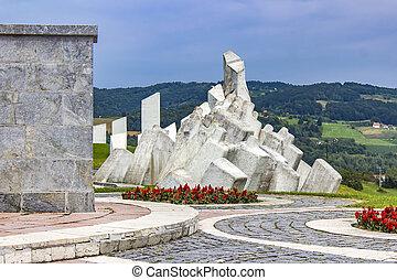 pracownicy, serbia, wojownicy, kadinjaca, pomnik, batalion