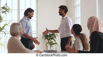 pracownicy, worker., oklaski, pomyślny, podpórkowy, ...