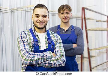 pracownicy, z, okno, profile