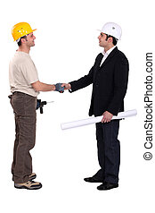 pracownicy zbudowania, inny, powitanie, każdy