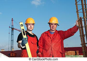 pracownicy, zbudowanie, budowniczowie, umiejscawiać