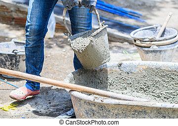 pracownicy, zbudowanie, cement