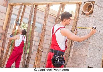 pracownicy, zbudowanie, dwa