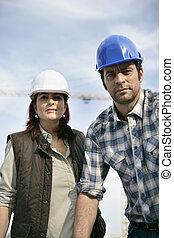 pracownicy, zbudowanie, samiec, samica