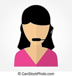 pracownik, dziewczyna, słuchawki, nazywać środek