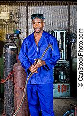 pracownik, fabryka, afrykanin