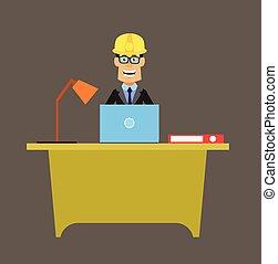 pracownik, -, laptop, technik, inżynier, pracujący