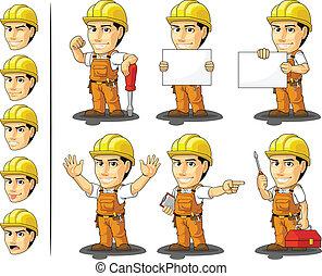 pracownik, masc, przemysłowy, zbudowanie