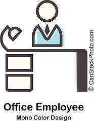 pracownik, mono, biuro, ilustracja, kolor