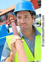 pracownik, podnoszenie, podpórka, na, umieszczenie zbudowania